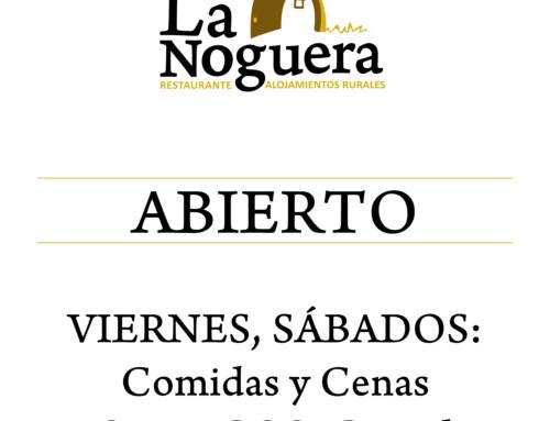 El restaurante La Noguera vuelve a su horario habitual